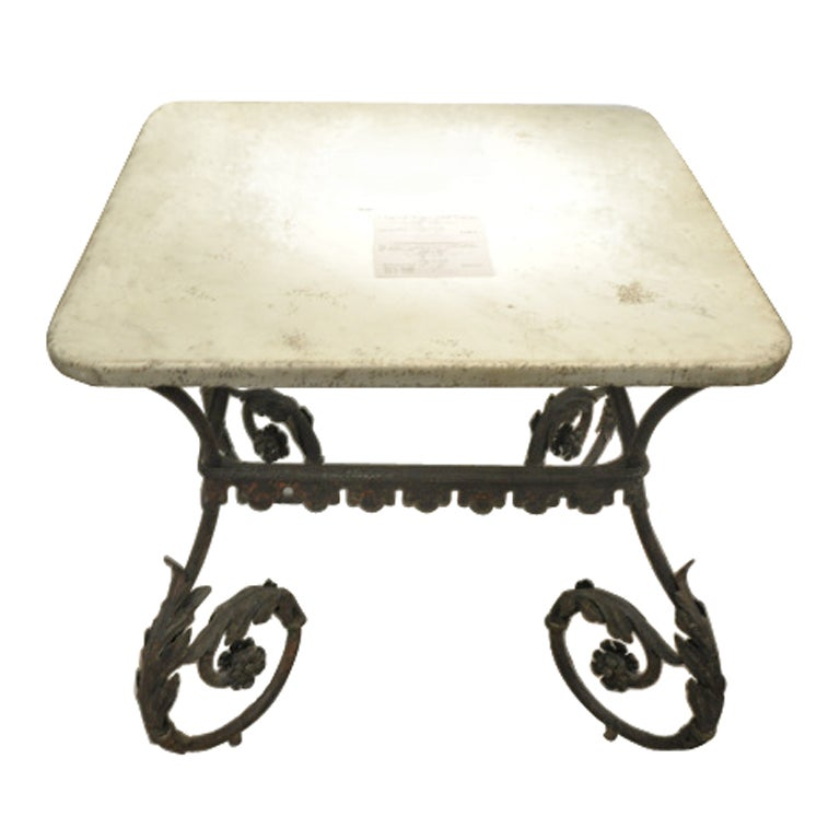 Italian nineteenth century fer forge table at 1stdibs for Table demi lune fer forge