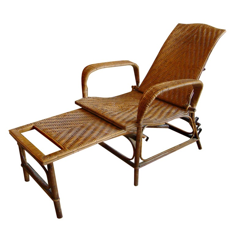 Bamboo and rattan french colonial chaise longue at 1stdibs - Chaise style colonial ...