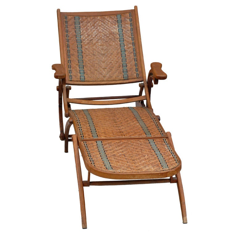 19th century french wicker and wood chaises longues at 1stdibs for Chaise longue rattan