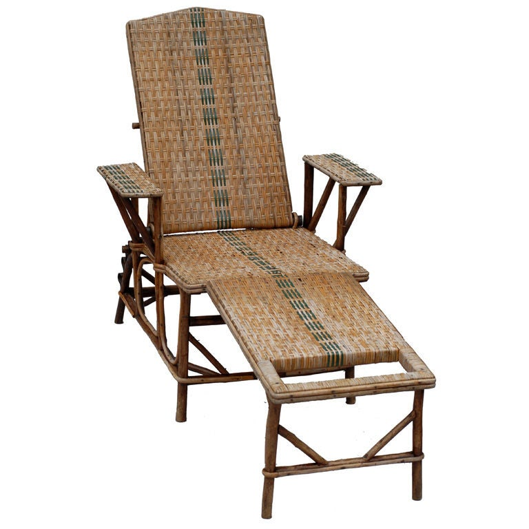 19th century french rattan and bamboo chaises longues at for Chaise longue rattan