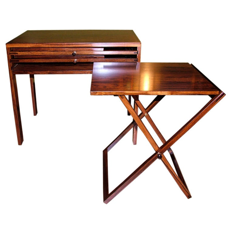 Danish Rosewood Nesting Folding Tables Stored In A Side