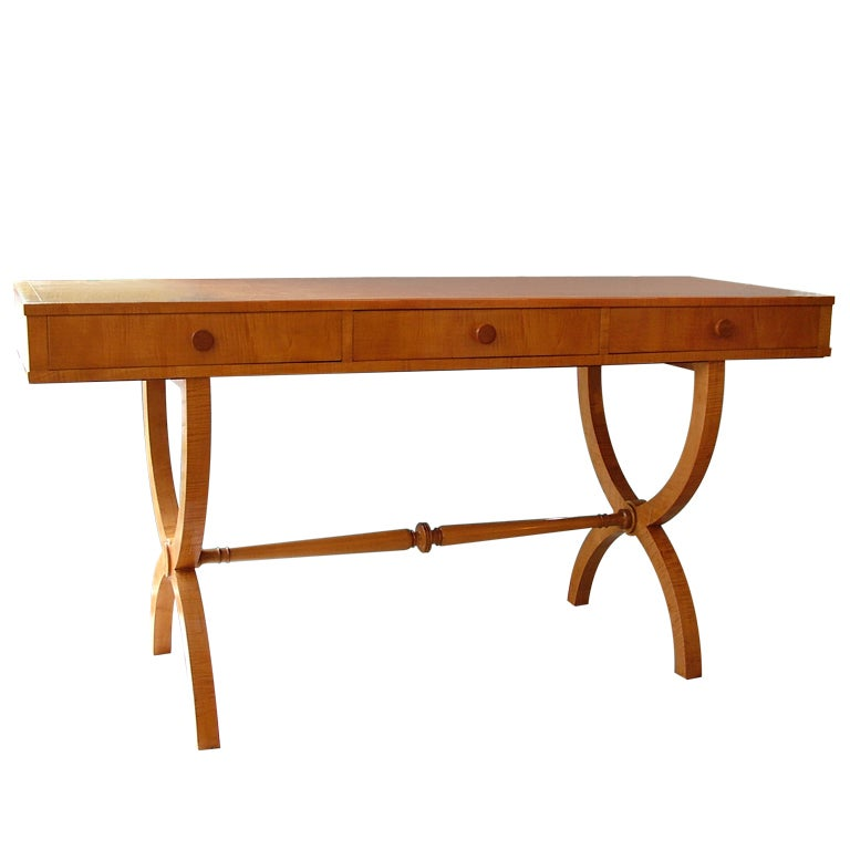Floating Square Coffee Table In Green And Black Slatelike: 1930s Sycamore Console / Desk At 1stdibs