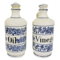 Pair of Antique Stoneware Blue & White Condiment Bottles