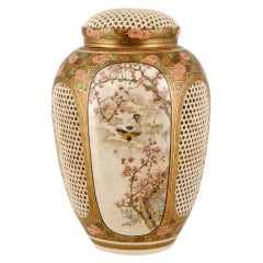 Japanese Antique Satsuma Pot-Purri Covered Jar by Ryozan