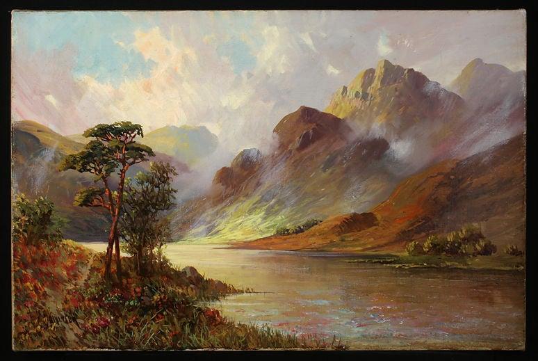 A wonderful and rare set of FOUR OIL PAINTINGS on canvas of Scottish Lochs by British landscape painter Francis Jamieson (1892-1950). Entitled on reverse Loch Lomond, Loch Tyne, Loch Etur N.B. & Loch Katrine.  Signed.  Unframed.