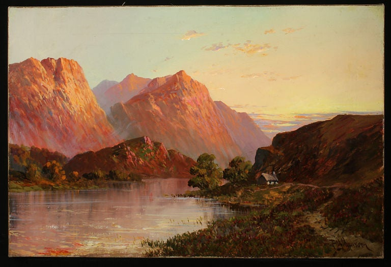 English Set of Four Antique Oil Paintings of Scottish Lochs For Sale