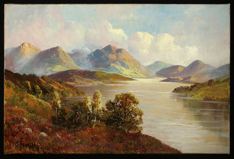 Set of Four Antique Oil Paintings of Scottish Lochs In Excellent Condition For Sale In Vancouver, BC