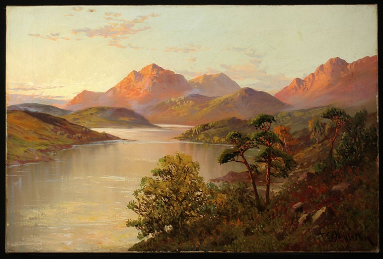 20th Century Set of Four Antique Oil Paintings of Scottish Lochs For Sale