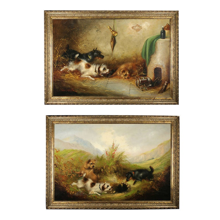 Pair Of Antique Dog Paintings By Frank Cassell At 1stdibs