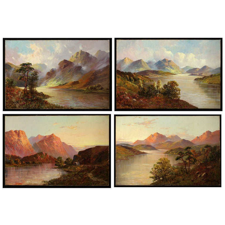 Set of Four Antique Oil Paintings of Scottish Lochs For Sale