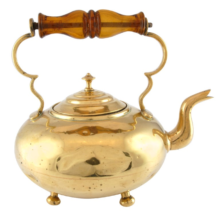 Antique brass tea-kettle