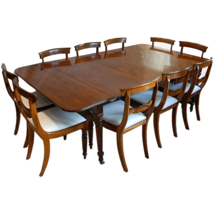 Regency Period Dining Table And Ten Chairs At 1stdibs