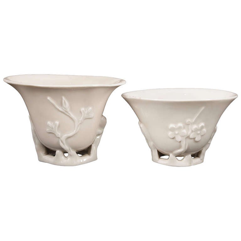 Chinese Wonderful Pair Of Dehua Cups At 1stdibs