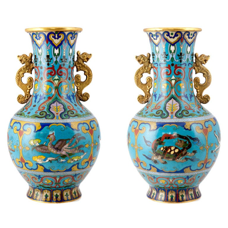 Pair of cloisonne vases qing dynasty at 1stdibs for Oriental vase and furniture