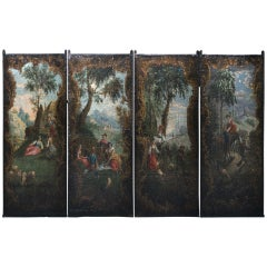 Spectacular 17th/18th Century Oil Painting on Canvas Four Panel Screen