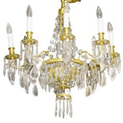 Fine quality French Crystal and gilt chandelier.