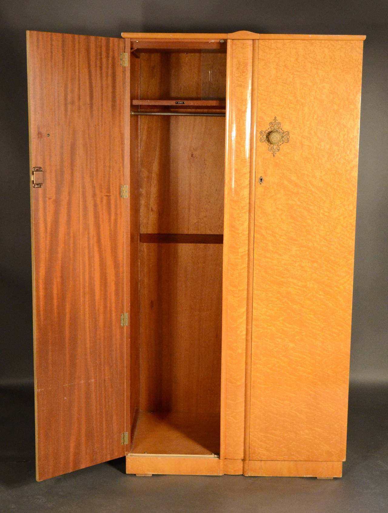 mid century bird s eye maple armoire for sale at 1stdibs