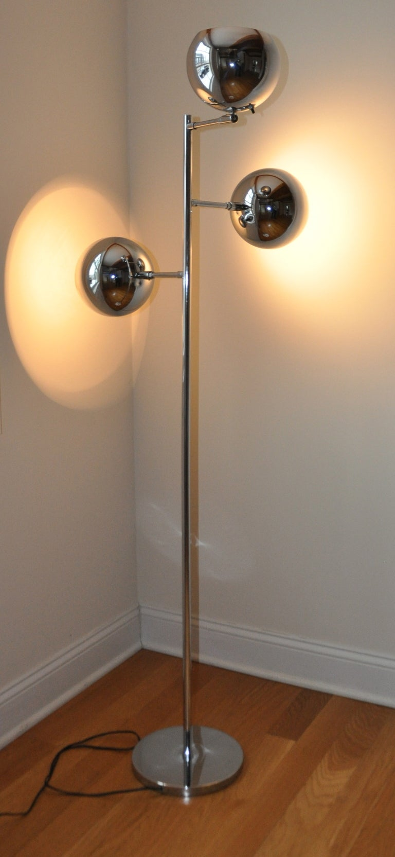 Three Arm Chrome Standing Lamp At 1stdibs