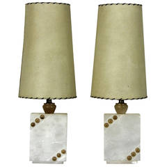 Pair of 1950s Italian Alabaster Modernist Table Lamps