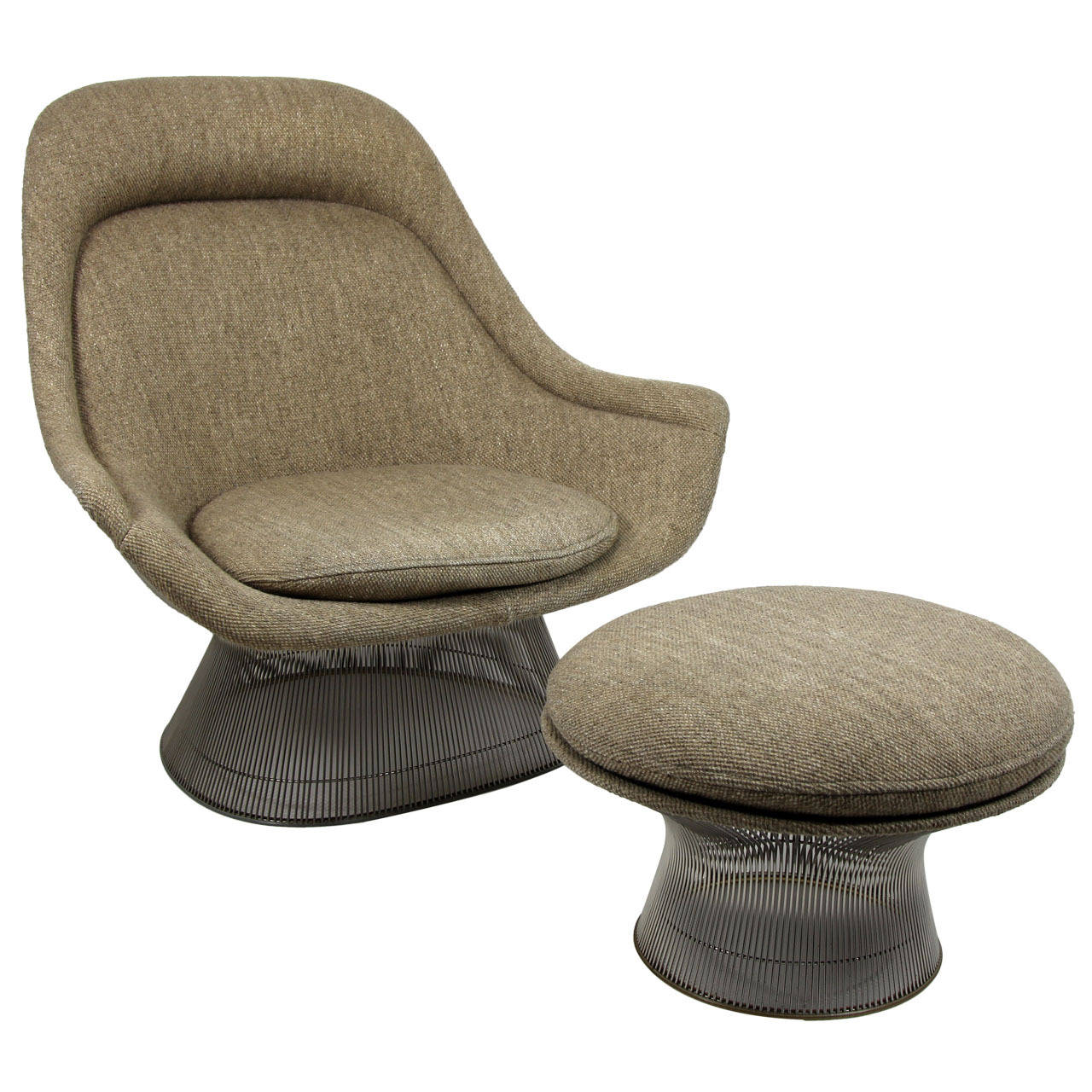 warren platner for knoll easy chair lounge and ottoman at 1stdibs