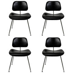Set of Four Herman Miller Eames DCM Chairs in Ebony Finish