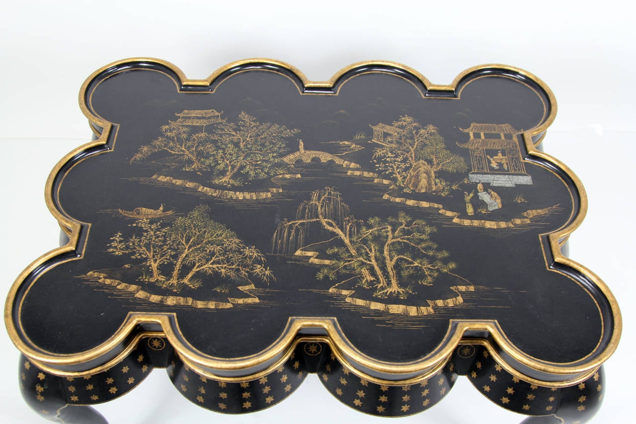 Chinoiserie hand painted black lacquer coffee table with for Oriental furniture norwalk ct