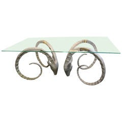 Ibex Head Dining Table with Glass Top