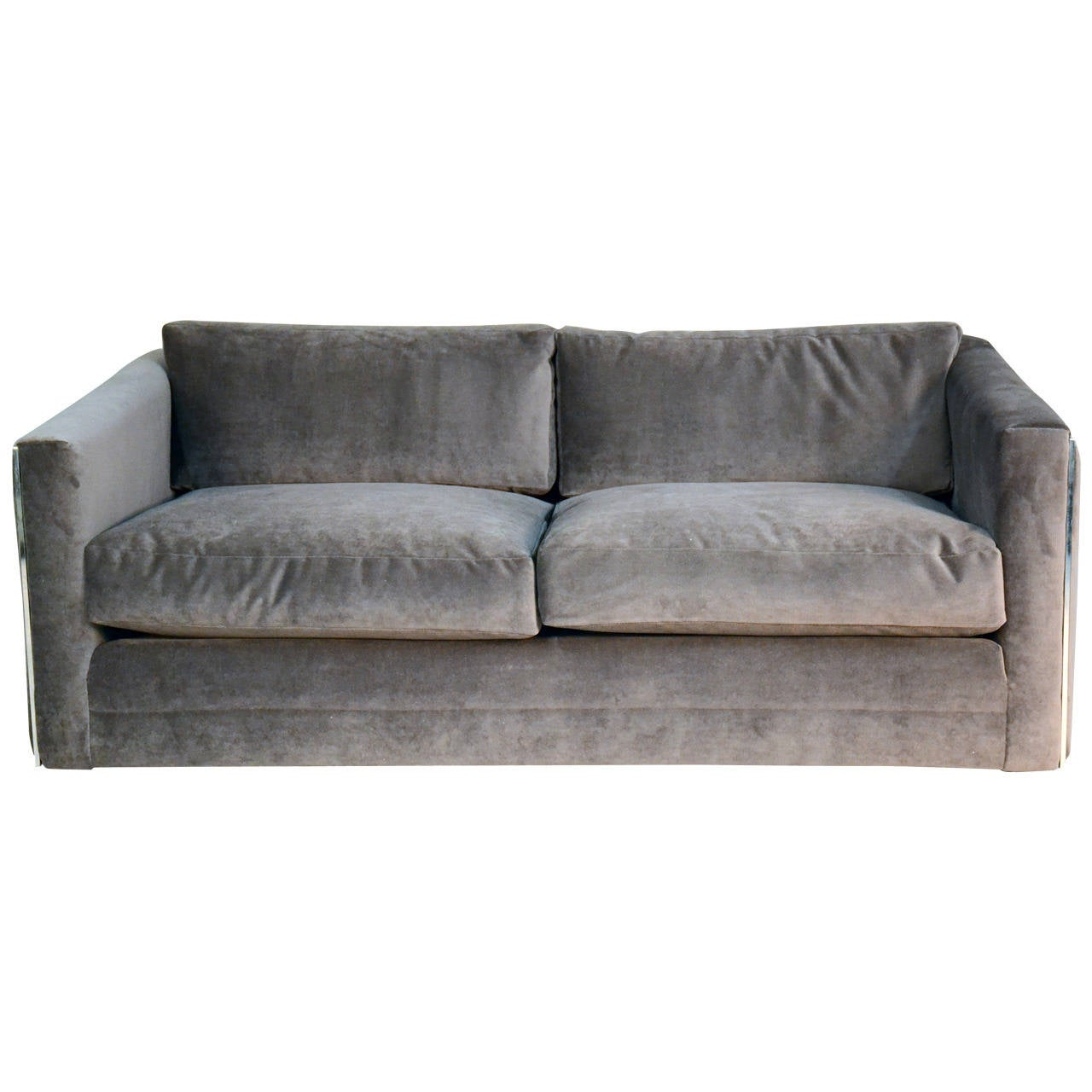 Milo Baughman For Thayer Coggin Velvet And Chrome Sofa At