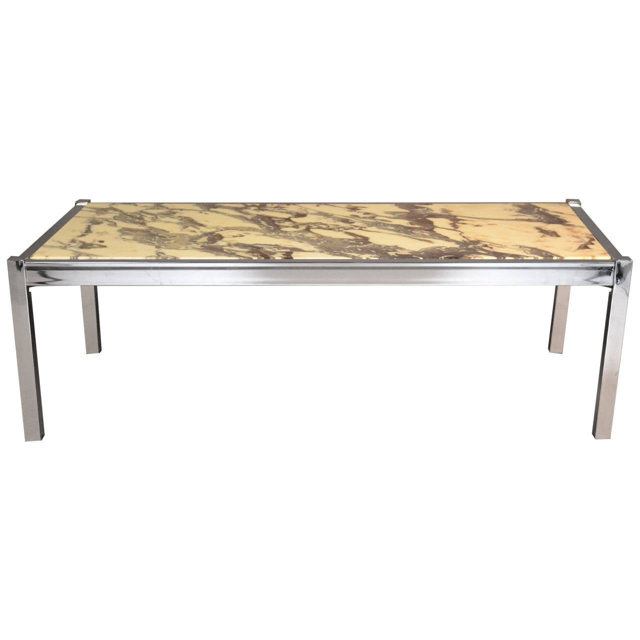 Marble And Chrome Rectangular Coffee Or Cocktail Table At