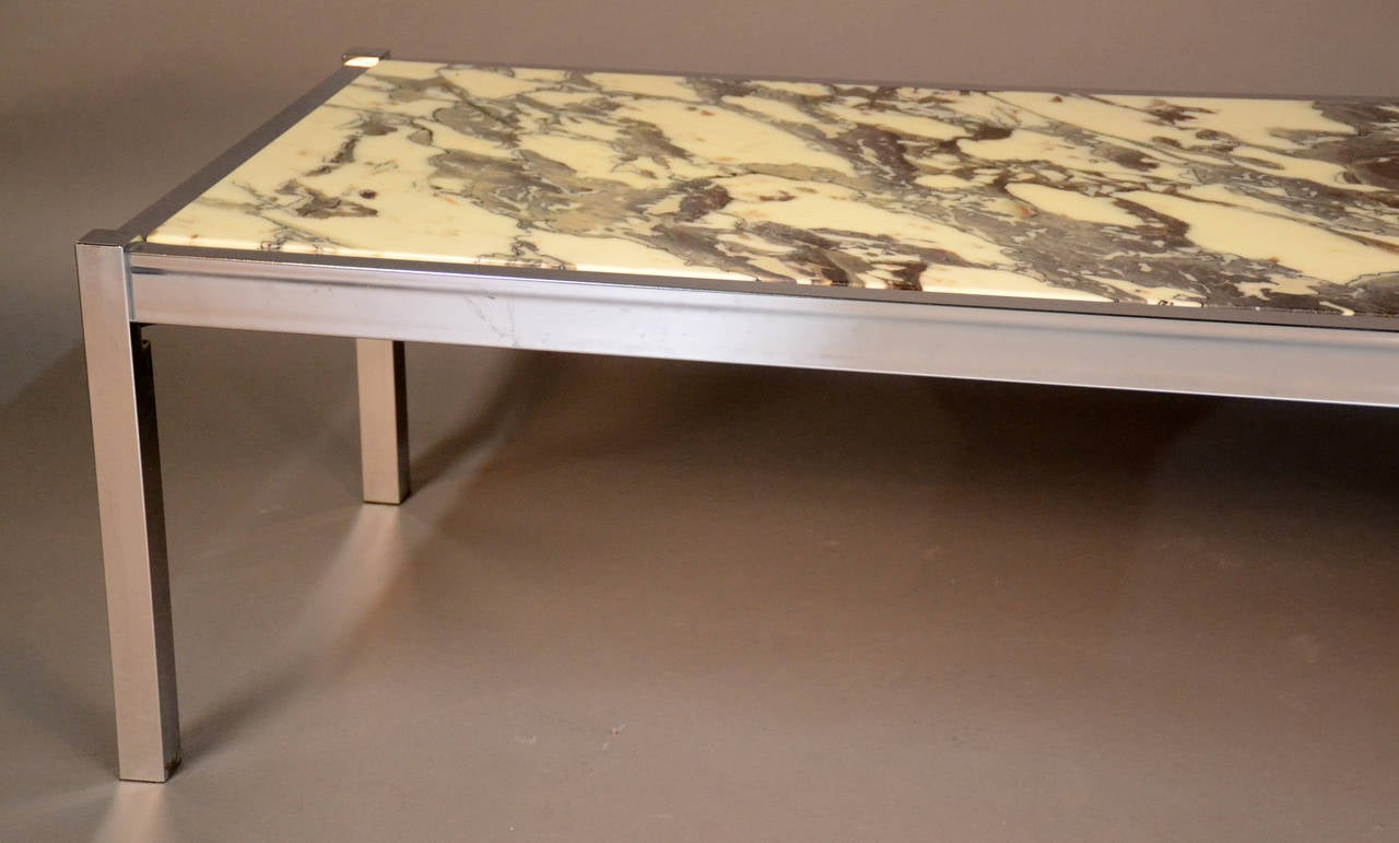 Marble and chrome rectangular coffee or cocktail table at for Square marble top coffee table