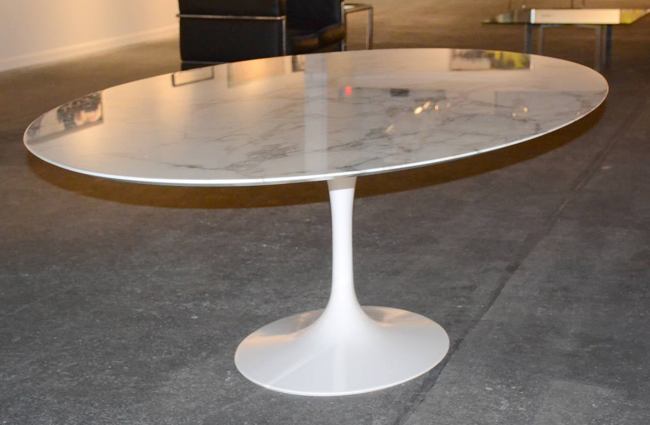 Saarinen Tulip Oval Dining Or Conference Table With Marble Top At