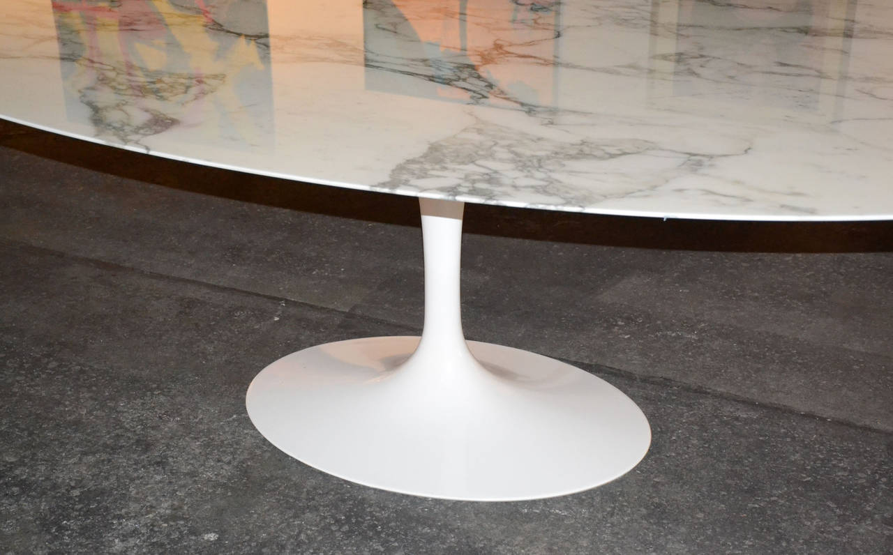 Saarinen Tulip Oval Dining Or Conference Table With Marble Top At - White marble conference table