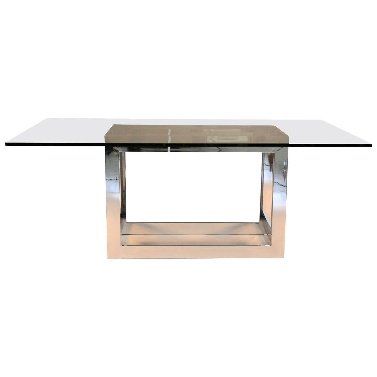 Milo Baughman For Thayer Coggin Chrome And Glass Dining Table At 1stdibs
