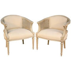 Pair of Louis XVI Style Caned Chairs