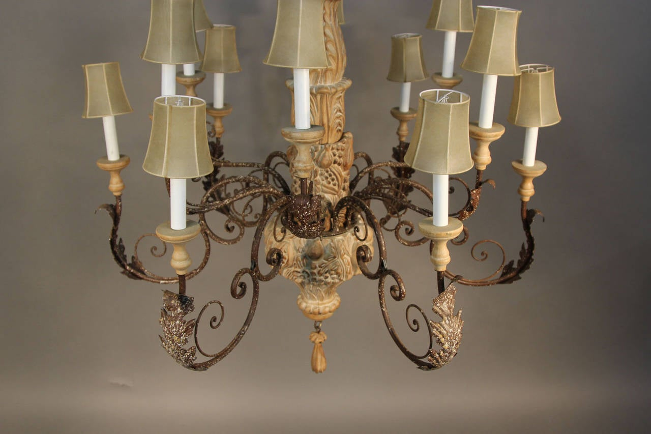 Large Italian Hand Carved Wood And Wrought Iron Chandelier