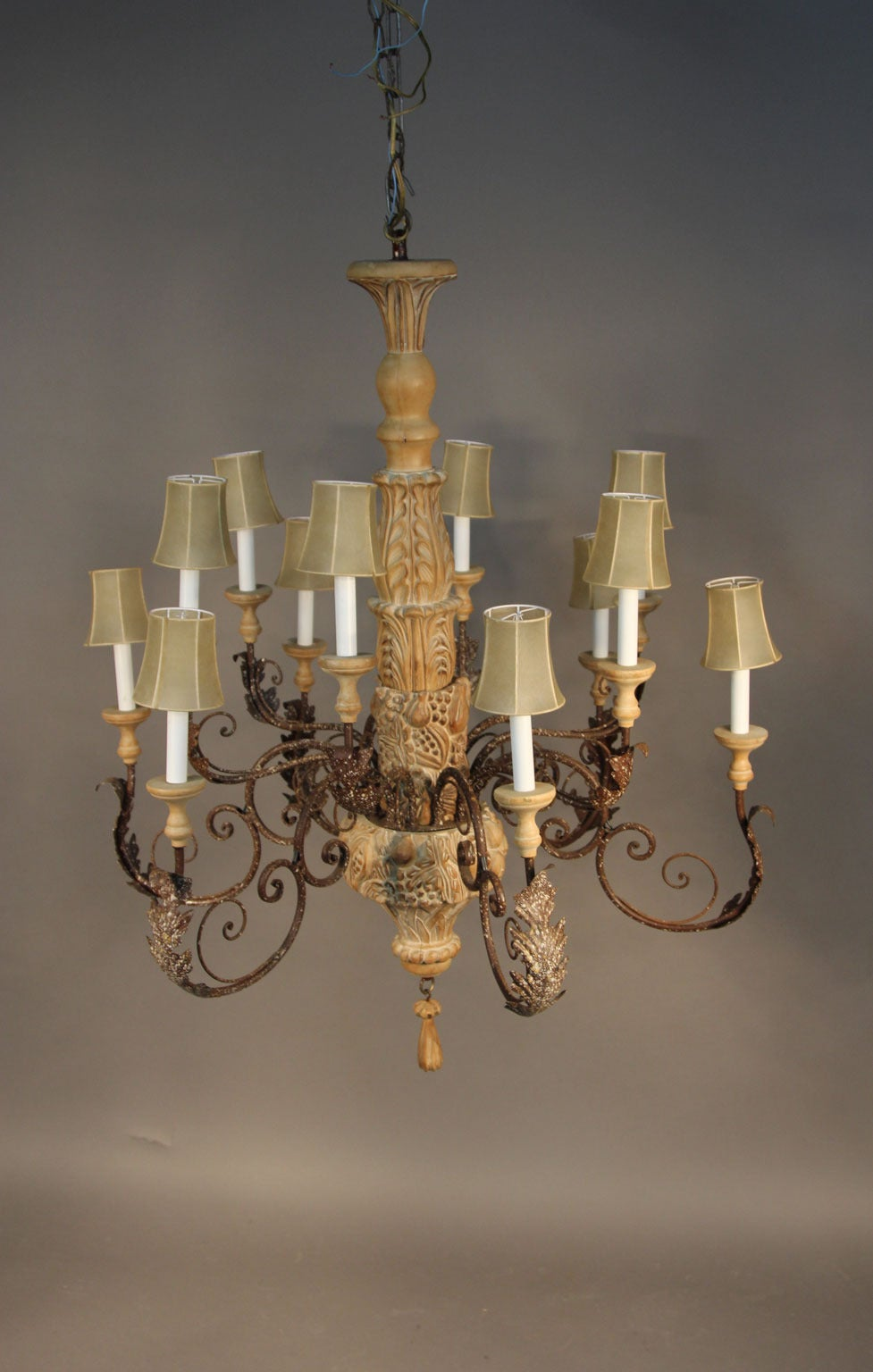 Large Italian HandCarved Wood and Wrought Iron Chandelier For – Wood Iron Chandelier