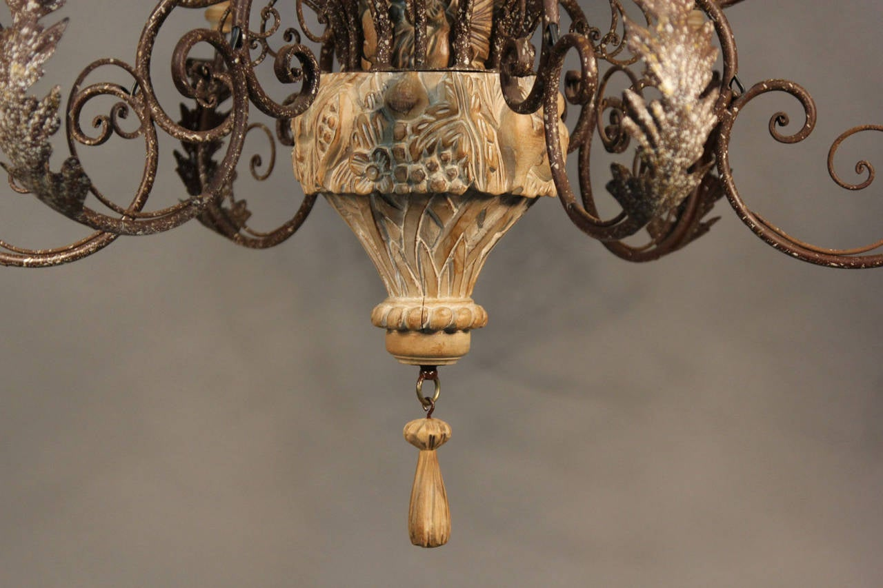 Large italian hand carved wood and wrought iron chandelier for sale forged large italian hand carved wood and wrought iron chandelier for sale arubaitofo Image collections
