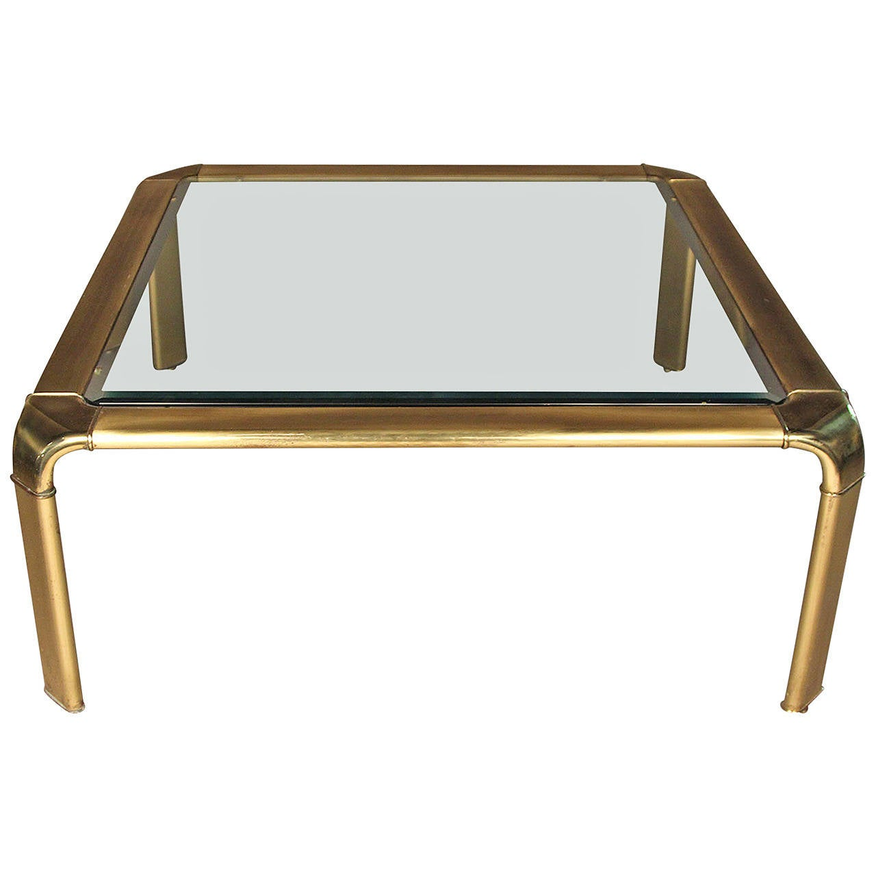 Brass And Glass Coffee Table In Square Shape At 1stdibs