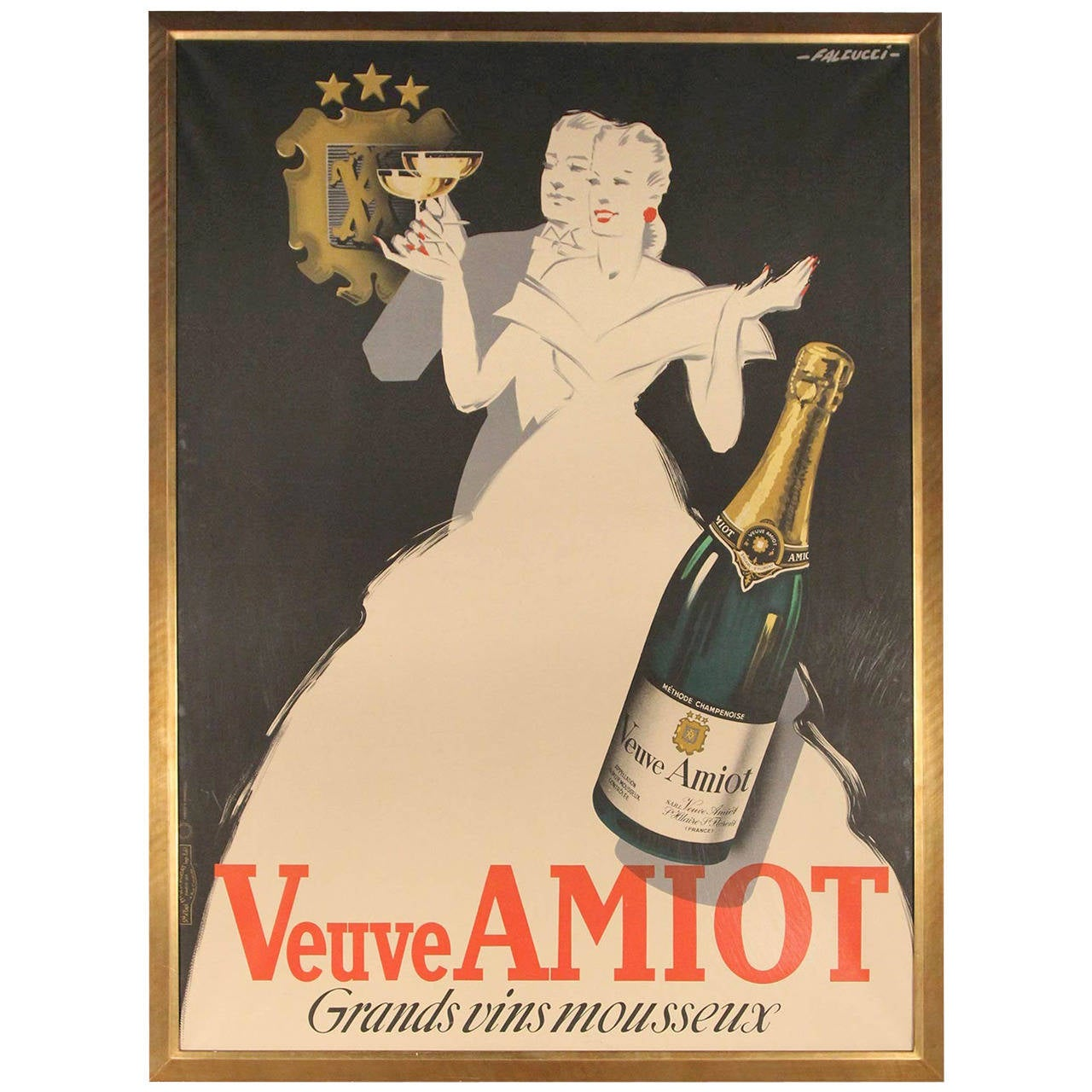 Veuve Amiot Champagne French Poster, Framed For Sale at 1stdibs