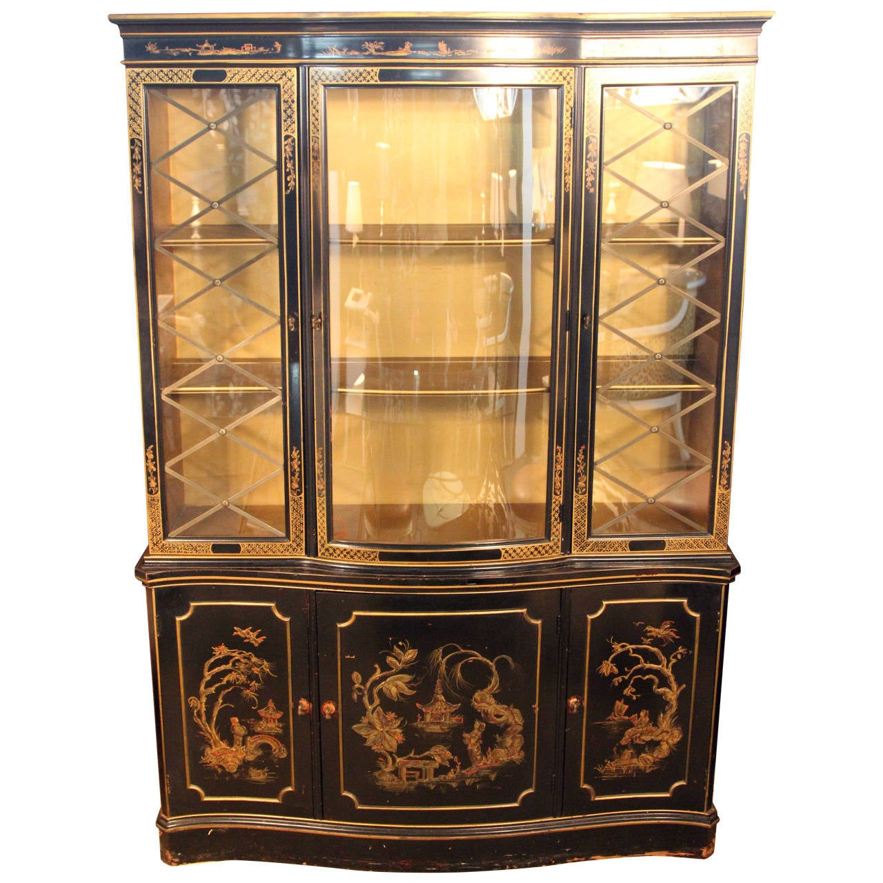 Chinoiserie Breakfront China Cabinet For