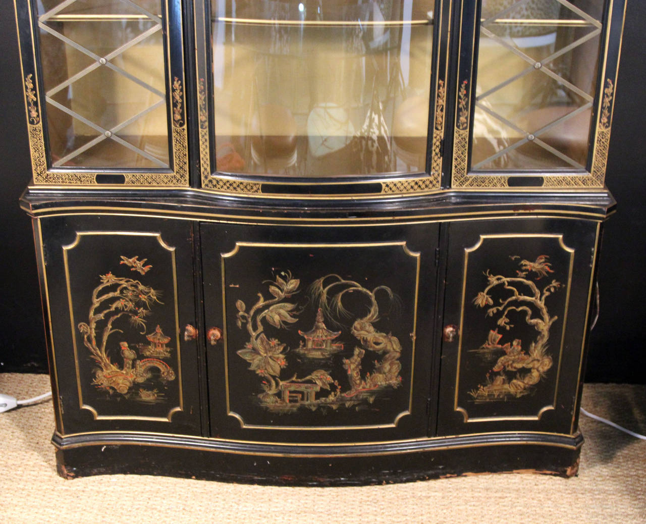 Chinoiserie breakfront china cabinet at 1stdibs for Chinese furniture norwalk ct