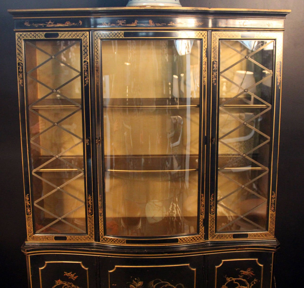 1940s Black Lacquered With Gold Decoration Breakfront Cabinet. Brass  Fittings And Glass Detail. Gold