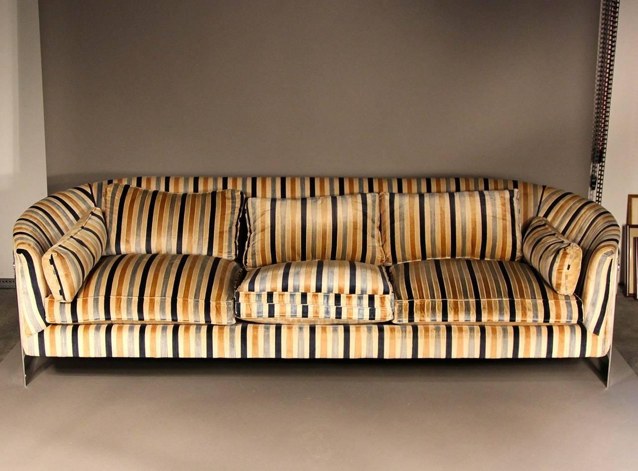 Milo Baughman Flat Bar Chrome Barrel Back Velvet Sofa at 1stdibs