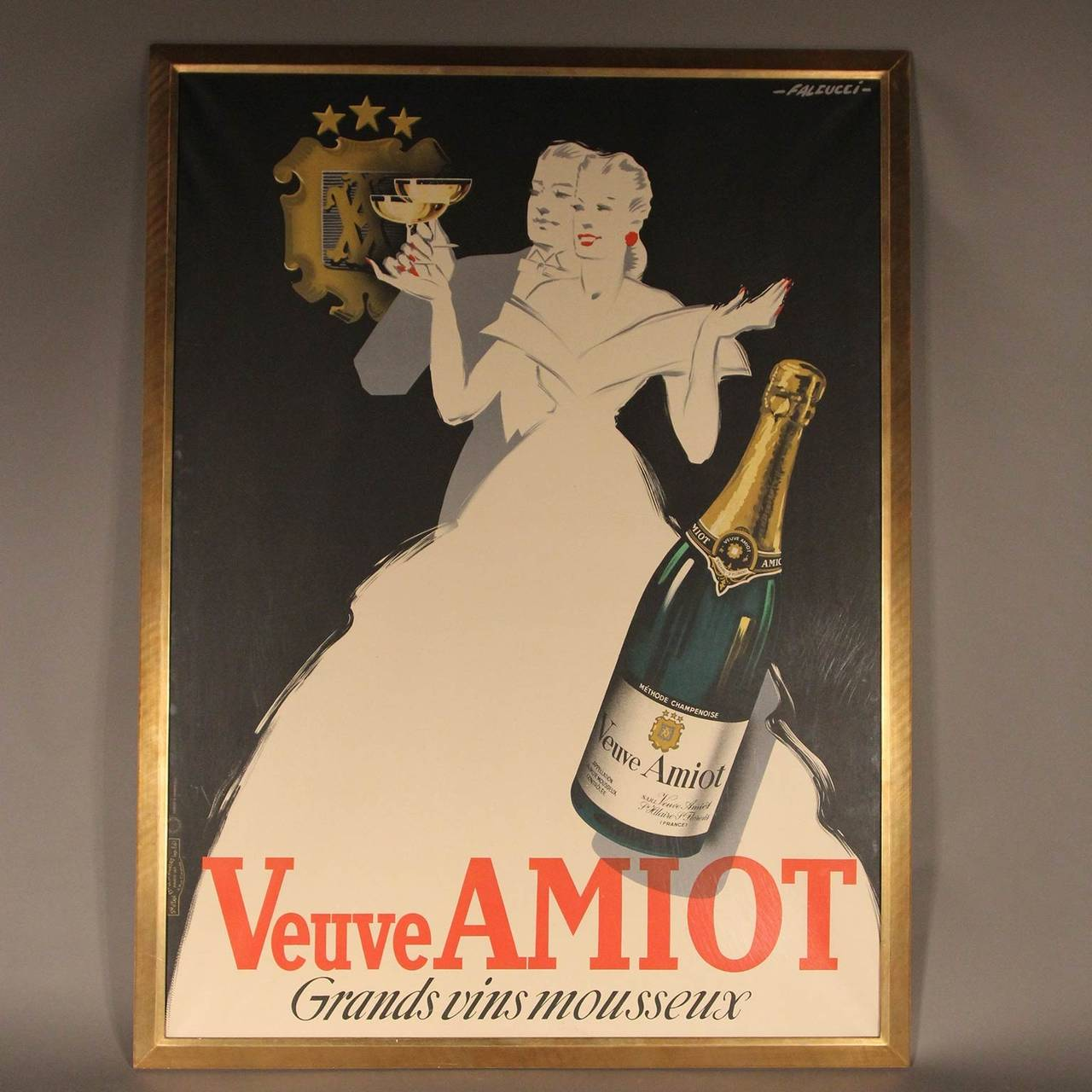 Beautiful full side Veuve Amiot Grands Vins Mousseux French champagne poster with impeccable gold framing behind plexiglass. Linen backed original 1936. Illustrated by Robert Falcucci (1900-1982).