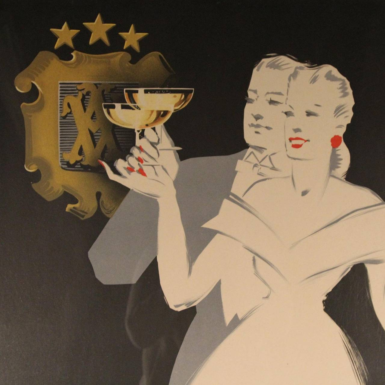Mid-20th Century Veuve Amiot Champagne French Poster, Framed For Sale