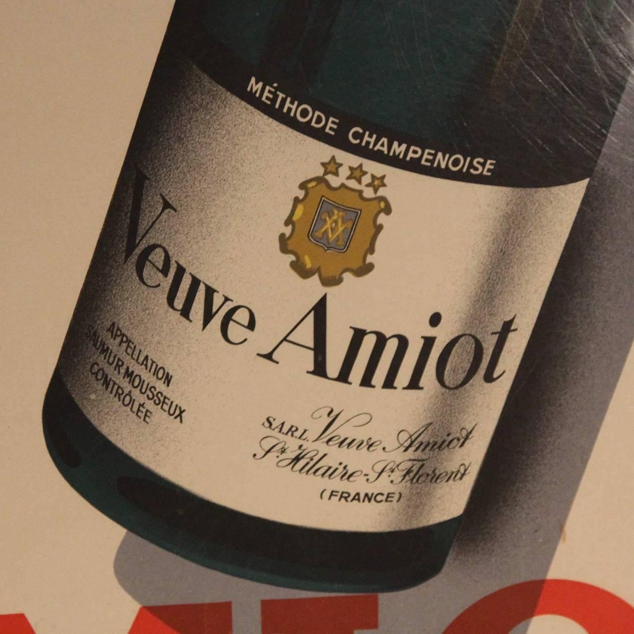 Linen Veuve Amiot Champagne French Poster, Framed For Sale