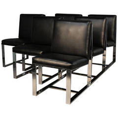 Set of Six Chrome Dining Chairs by Milo Baughman