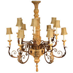 Large Italian Hand-Carved Wood and Wrought Iron Chandelier
