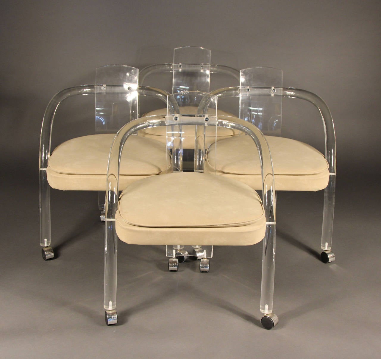 Set of four charles hollis jones style lucite dining for How to make lucite furniture