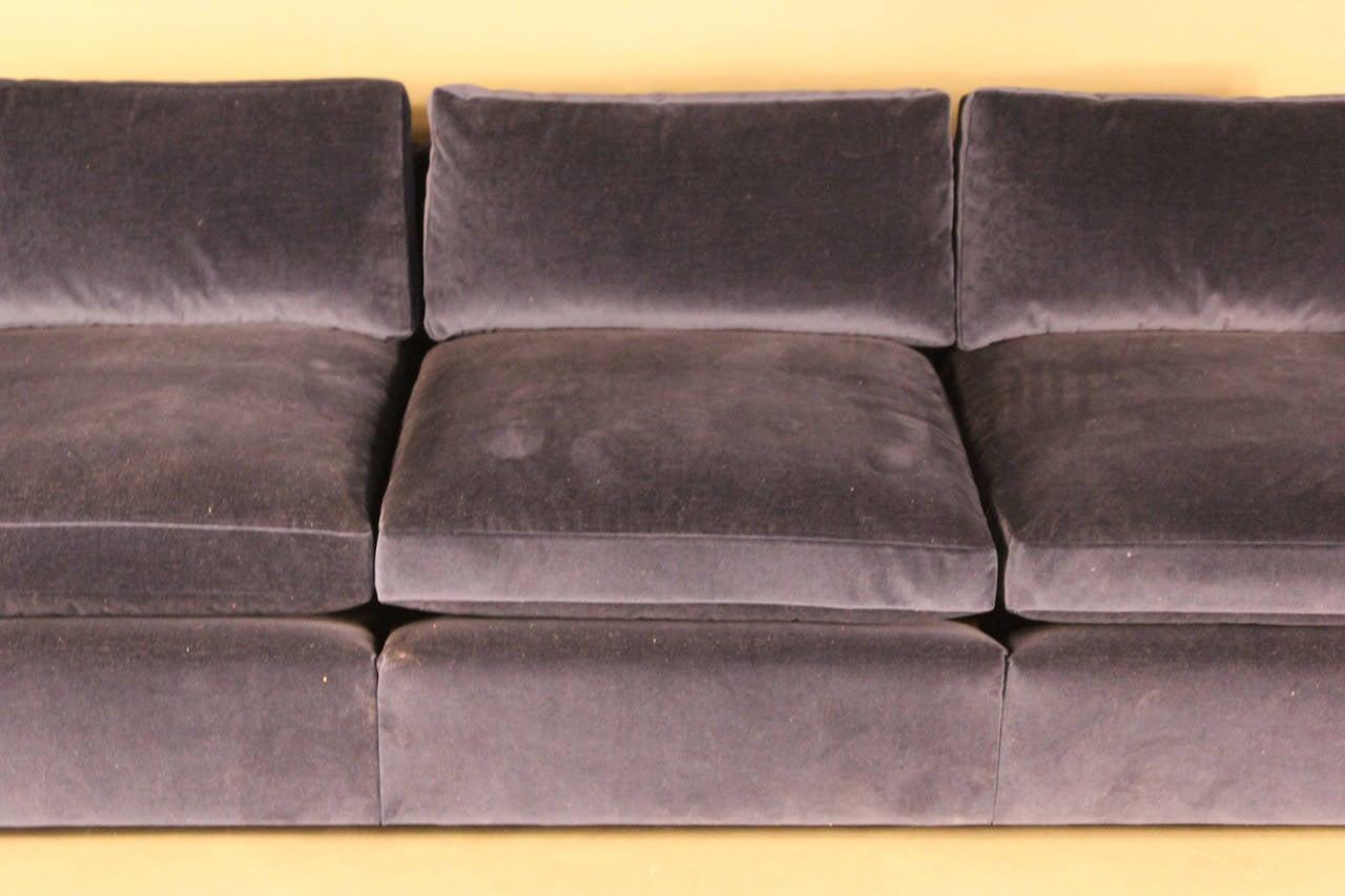 Mid Century Modern Knoll Velvet Upholstered Sofa For Sale